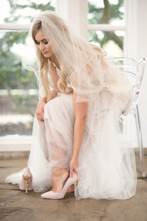 Harriet Wilde Wedding Shoes | Bride in Nissa Now  from Chic Nostalgia | Super Luxe White, Grey & Gold Elegant Wedding Inspiration at Orangery, Holland Park, Kensington, London | Planned & Style day The Events Designers | Eva Tarnok Photography