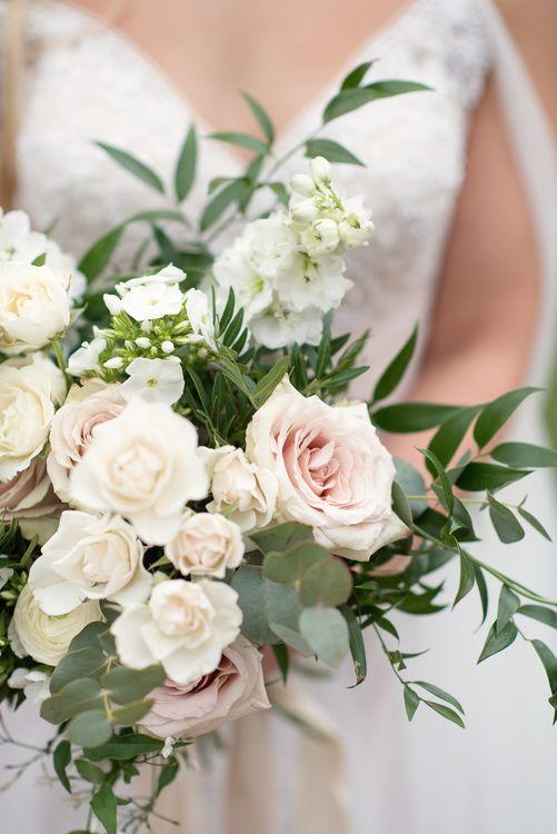 Romantic Rose Bridal Bouquet | Super Luxe White, Grey & Gold Elegant Wedding Inspiration at Orangery, Holland Park, Kensington, London | Planned & Style day The Events Designers | Eva Tarnok Photography
