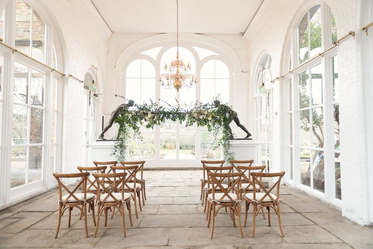 Altar Hanging Floral Installation by Blue Sky Flowers | Super Luxe White, Grey & Gold Elegant Wedding Inspiration at Orangery, Holland Park, Kensington, London | Planned & Style day The Events Designers | Eva Tarnok Photography