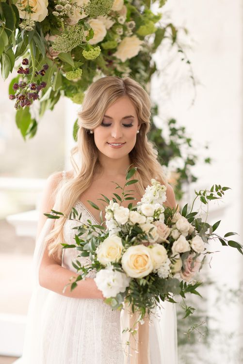 Romantic Rose Bouquet | Bride in Nissa Now  from Chic Nostalgia | Super Luxe White, Grey & Gold Elegant Wedding Inspiration at Orangery, Holland Park, Kensington, London | Planned & Style day The Events Designers | Eva Tarnok Photography