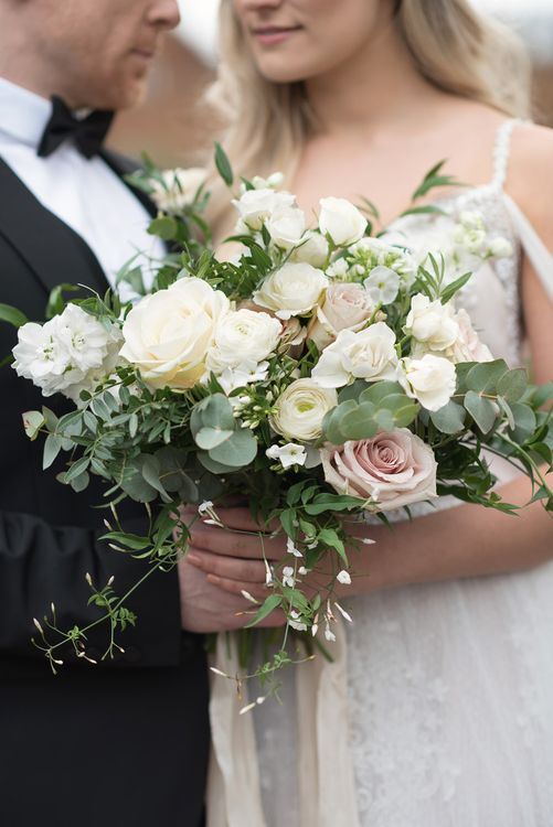 Romantic Bouquet from Blue Sky Flowers | Bride in Nissa Now  from Chic Nostalgia | Groom in Black Tie Suit | Super Luxe White, Grey & Gold Elegant Wedding Inspiration at Orangery, Holland Park, Kensington, London | Planned & Style day The Events Designers | Eva Tarnok Photography