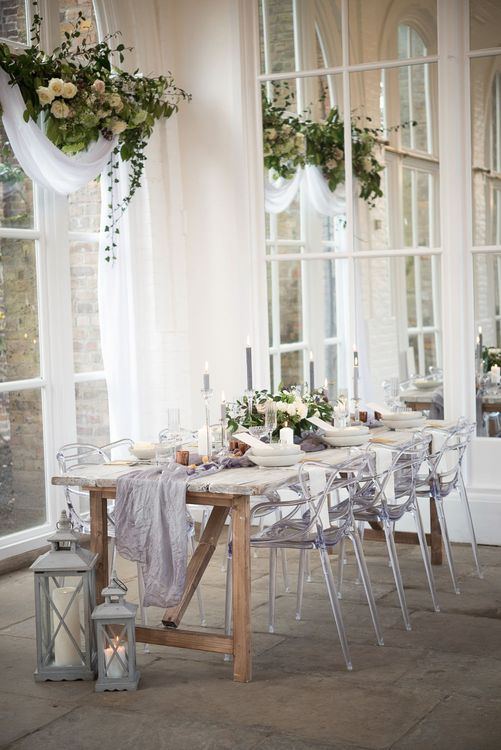 Elegant Tablescape with Hanging Flower Installation | Super Luxe White, Grey & Gold Elegant Wedding Inspiration at Orangery, Holland Park, Kensington, London | Planned & Style day The Events Designers | Eva Tarnok Photography