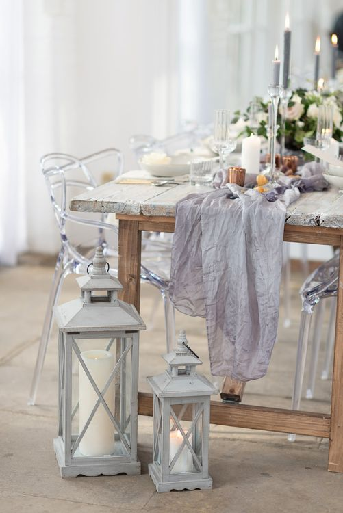 Elegant Table Scape with Ghost Chairs, Lanterns & Candle Sticks | Super Luxe White, Grey & Gold Elegant Wedding Inspiration at Orangery, Holland Park, Kensington, London | Planned & Style day The Events Designers | Eva Tarnok Photography