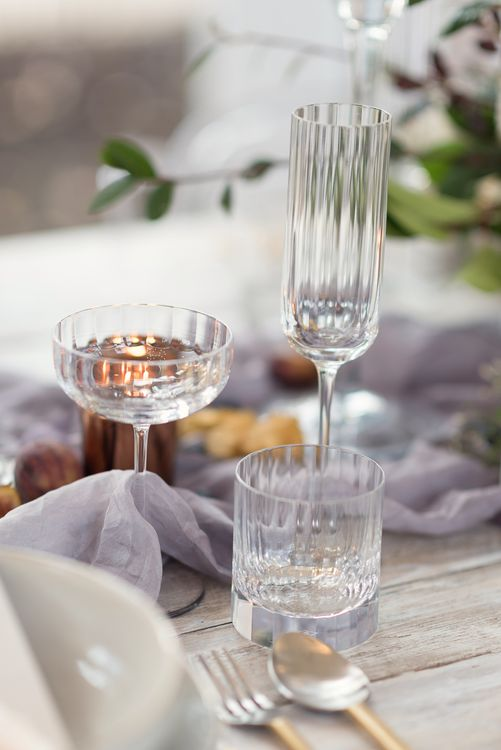 Elegant Glassware | Super Luxe White, Grey & Gold Elegant Wedding Inspiration at Orangery, Holland Park, Kensington, London | Planned & Style day The Events Designers | Eva Tarnok Photography