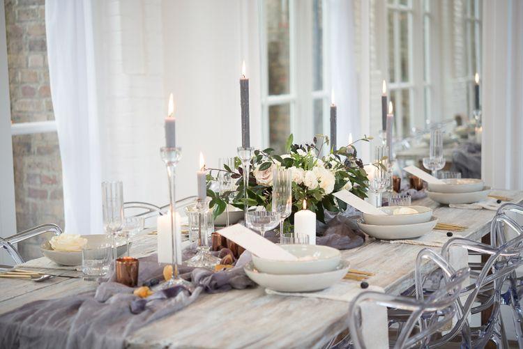 Elegant Candle Stick Tablescape | Super Luxe White, Grey & Gold Elegant Wedding Inspiration at Orangery, Holland Park, Kensington, London | Planned & Style day The Events Designers | Eva Tarnok Photography
