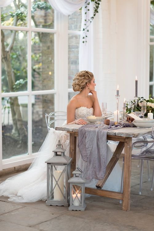 Bride in 'Christelle' by Anna Georgina and Kobus Dippenaar | Elegant Tablescape | Super Luxe White, Grey & Gold Elegant Wedding Inspiration at Orangery, Holland Park, Kensington, London | Planned & Style day The Events Designers | Eva Tarnok Photography