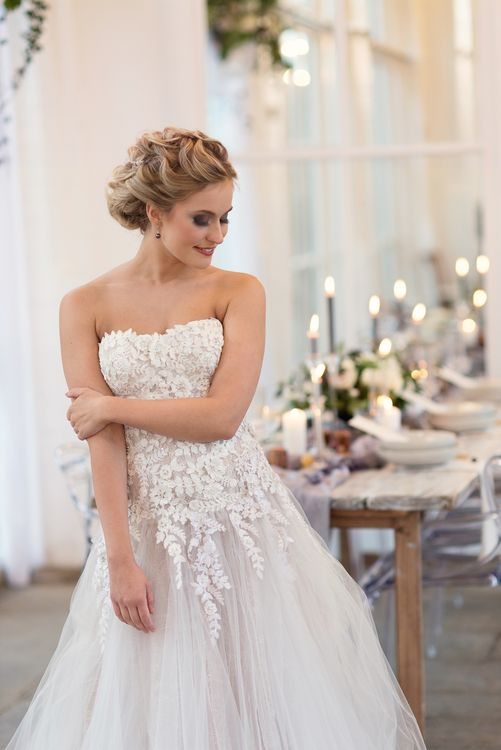 Bride in 'Christelle' by Anna Georgina and Kobus Dippenaar | Super Luxe White, Grey & Gold Elegant Wedding Inspiration at Orangery, Holland Park, Kensington, London | Planned & Style day The Events Designers | Eva Tarnok Photography