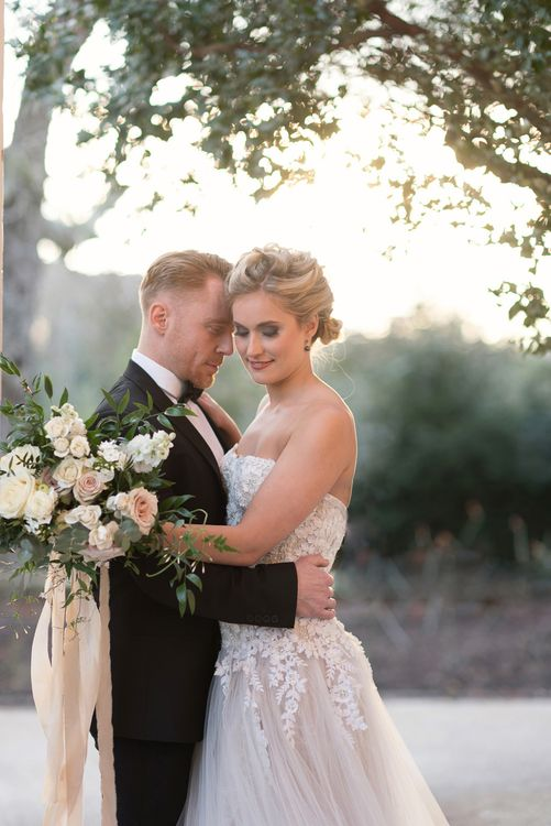 Bride in 'Christelle' by Anna Georgina and Kobus Dippenaar | Groom in Black Tie Suit | Super Luxe White, Grey & Gold Elegant Wedding Inspiration at Orangery, Holland Park, Kensington, London | Planned & Style day The Events Designers | Eva Tarnok Photography