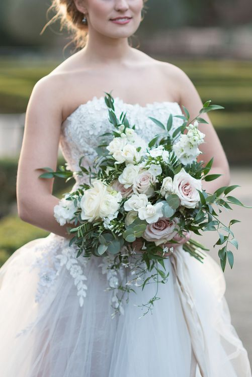 Romantic Bridal Bouquet by Blue Sky Flowers | Bride in 'Christelle' by Anna Georgina and Kobus Dippenaar | Super Luxe White, Grey & Gold Elegant Wedding Inspiration at Orangery, Holland Park, Kensington, London | Planned & Style day The Events Designers | Eva Tarnok Photography