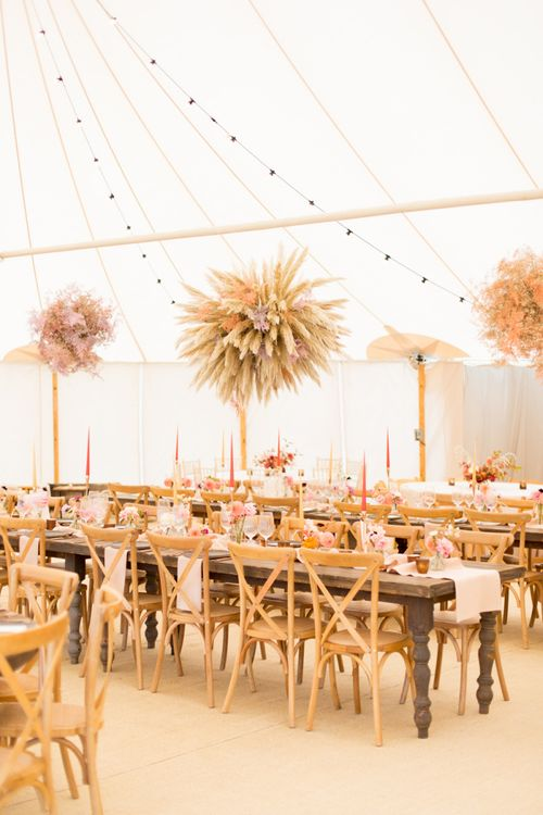 Autumn Sperry Tent Wedding Reception Flowers with Dried Grass Installation