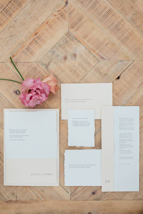 White and Pink Block Wedding Stationery Suite by Bureau Design