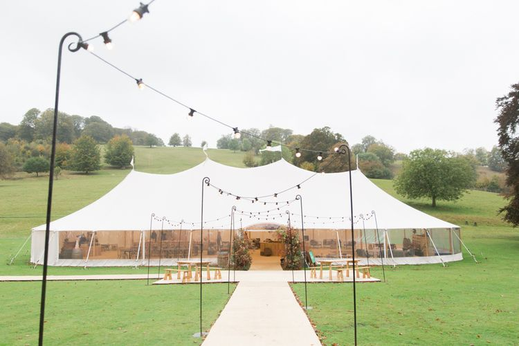Festoon Lit Pathway to Clear Sided PapaKata Sperry Tent