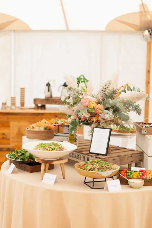 Artisan Food Catering by Goose & Berry with Dishes Presented on Wooden Crates