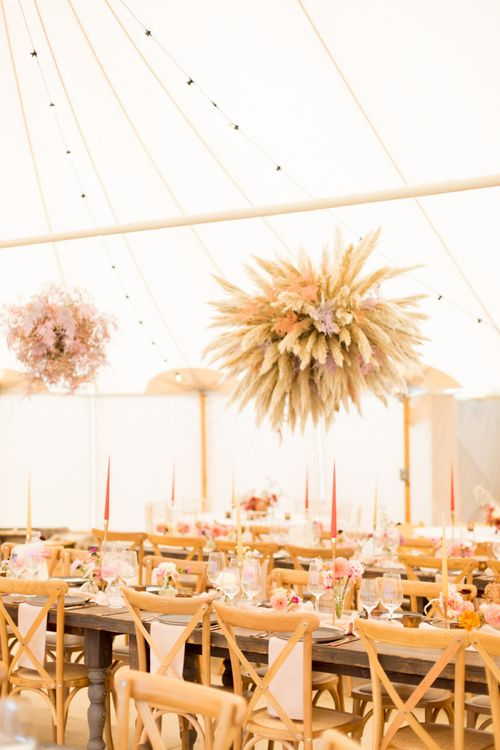 Dried Flower Hanging installation Over the Wedding Reception Tables
