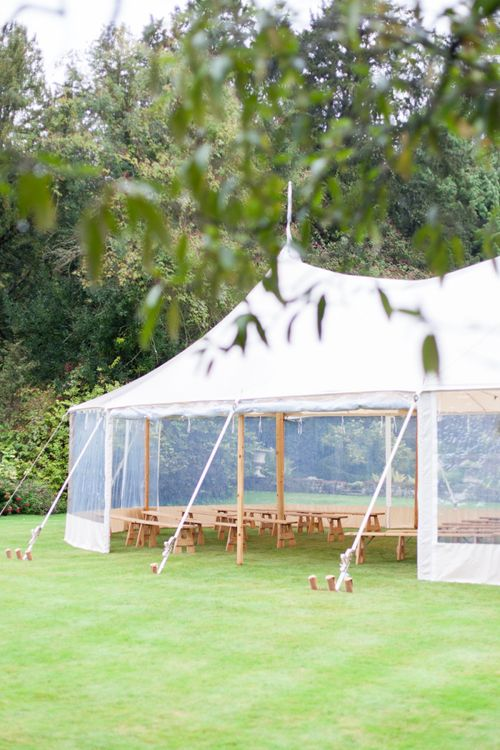 Clear Sided Wedding Ceremony Sperry Tent with Wooden Benches