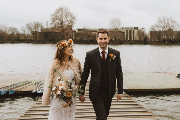 Hammersmith riverside wedding at Linden House in London with bride wearing vintage 70s dress and floral crown