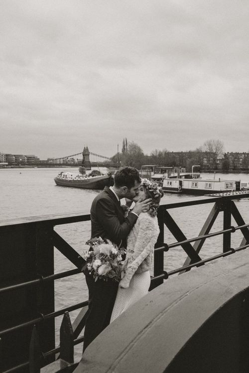 Riverside winter wedding at Linden House in London with modern boho floral styling