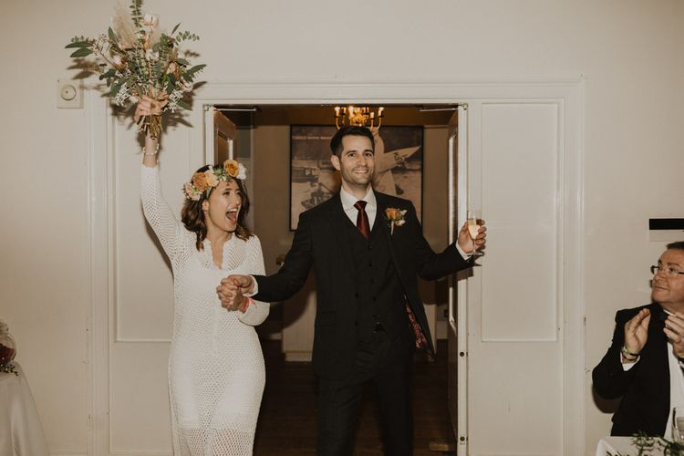 Bride and groom at Linden House for intimate wedding with modern boho styling