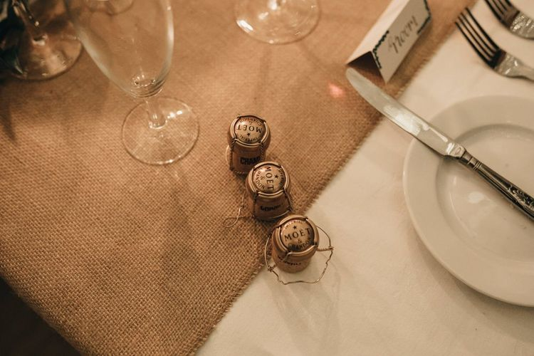 Moet corks at Linden House for an intimate reception with modern boho styling
