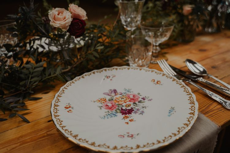 Floral Vintage Tableware for Place Setting