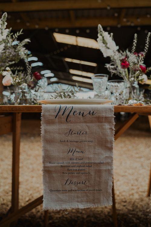 Fabric Menu Table Runner Wedding Decor