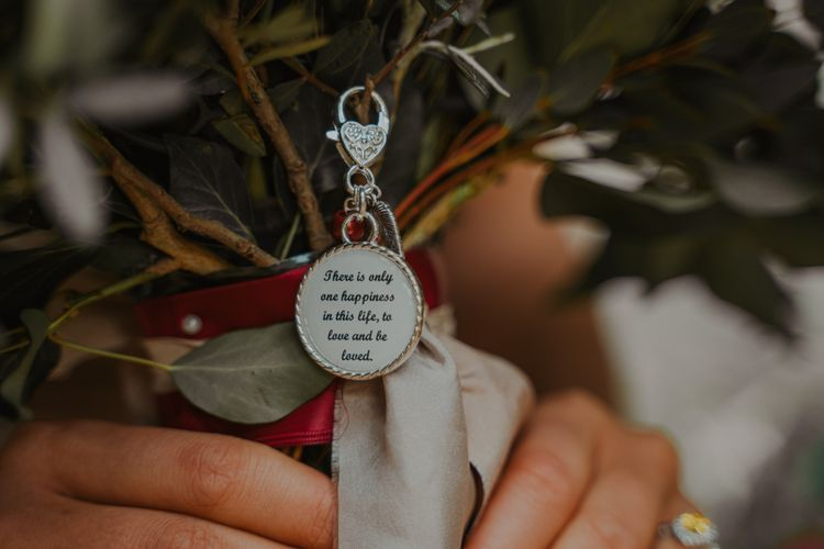 Treasure Love Quote Keyring on the Bridal Bouquet