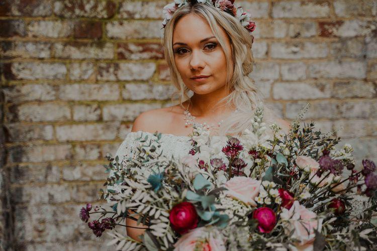 Romantic Raspberry and Blush Bridal Bouquet