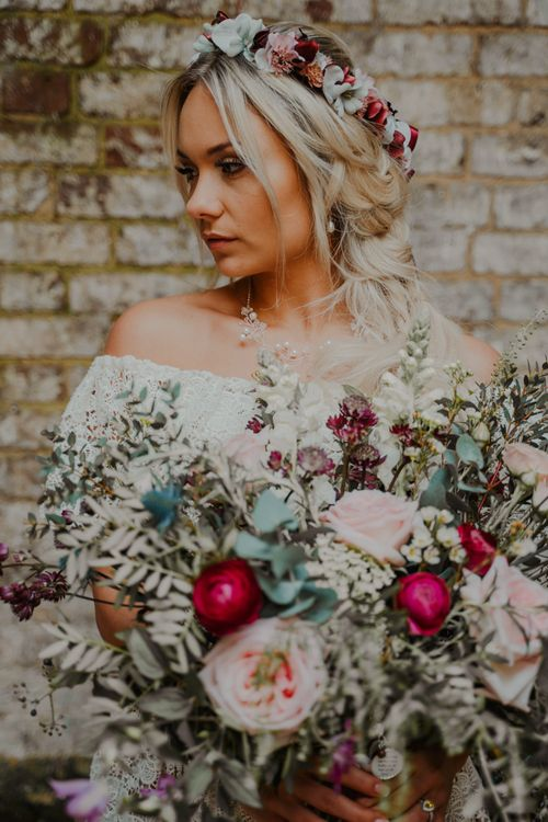Boho bride with Pink and Red Flower Crown and Wedding Bouquet