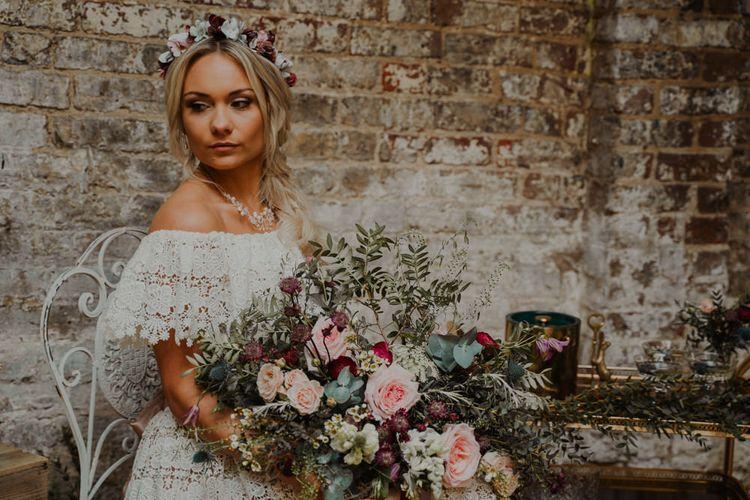 Beautiful Bride with Bardot Lace Wedding Dress