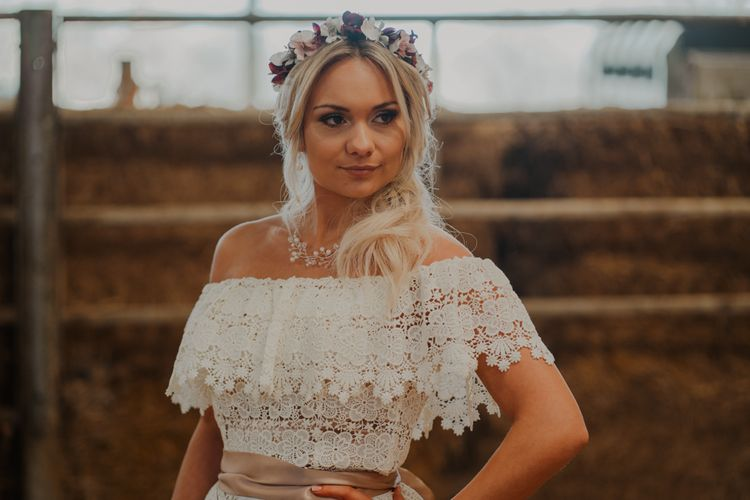 Boho Bride in Off the Shoulder Lace Wedding Dress and Flower Crown