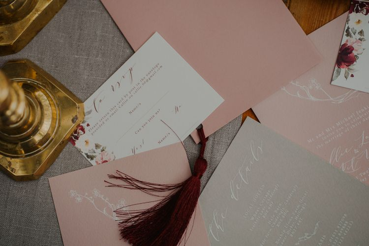 Romantic Blush Pink and Grey Wedding Stationery Suite by Wonderland Invites
