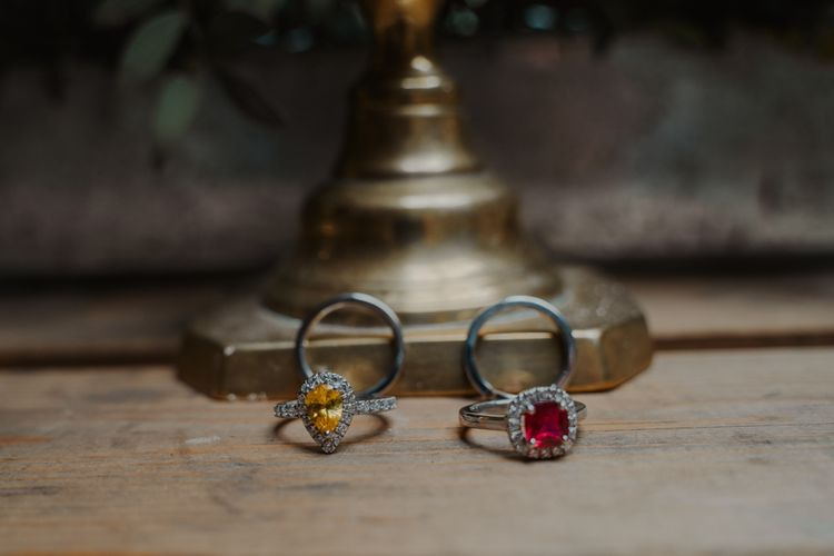 Yellow Quartz and Red Ruby Diamond Engagement Rings by RTFJ Jewellers