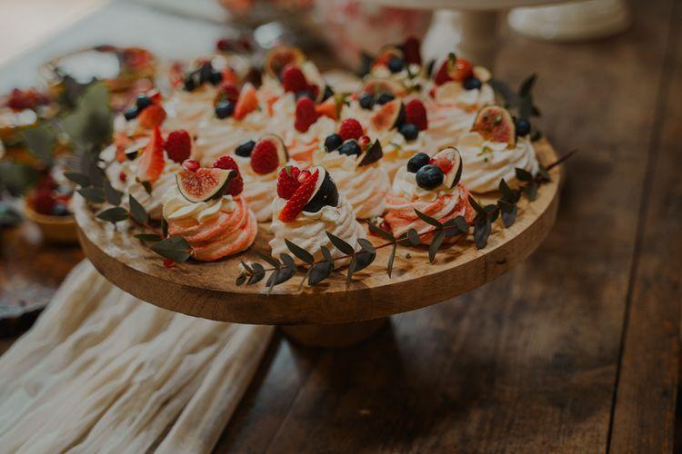 Fig & Berry Topped Meringue Kisses for Dessert table