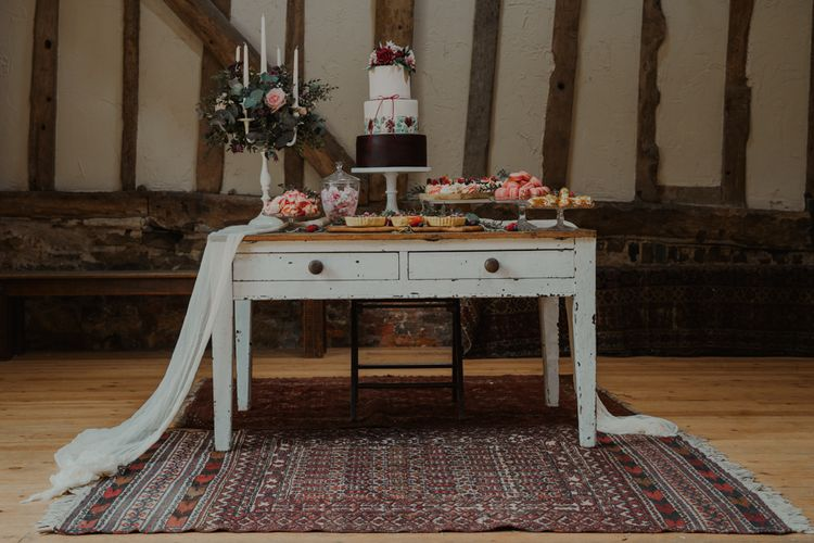 Vintage Dresser Dessert Table with Wedding Cake, Individual Treats