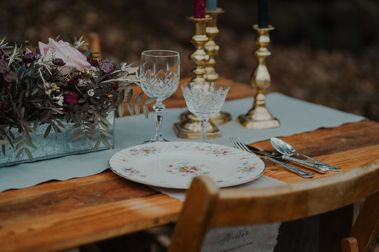 Vintage China Place Setting and Cut Glass Wine Glasses