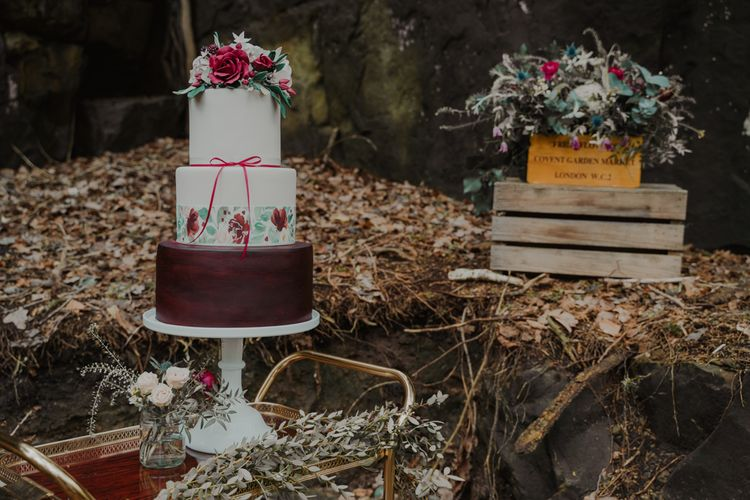 Three Tier Wedding Cake on Gold Drinks Trolley and  Wooden Crates Wedding Decor