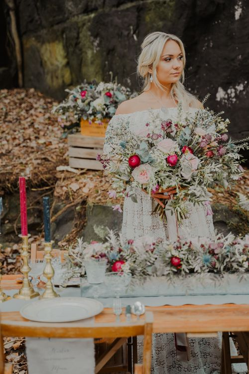 Oversized Blush and Burgundy Wedding Bouquet and Complementary Tabler Runner Flowers
