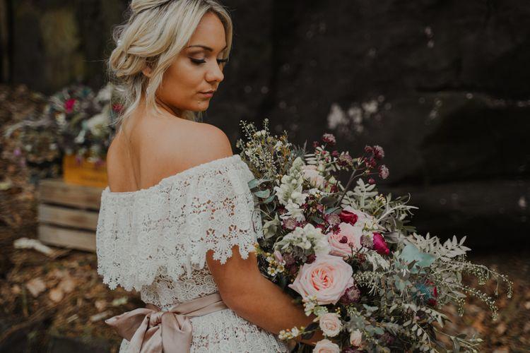 Bride in Off the Shoulder Lace Wedding Dress