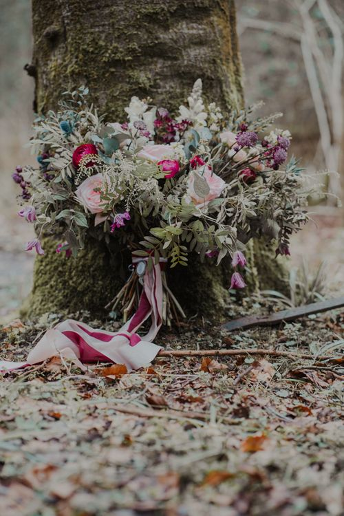 Romantic Blush Pink and Burgundy Wedding Bouquet with Trailing Ribbons