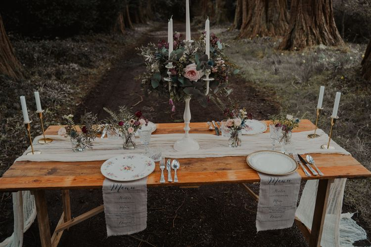 Intimate Tablescape with Vintage China, Candle Sticks and Floral Candelabra Centrepiece