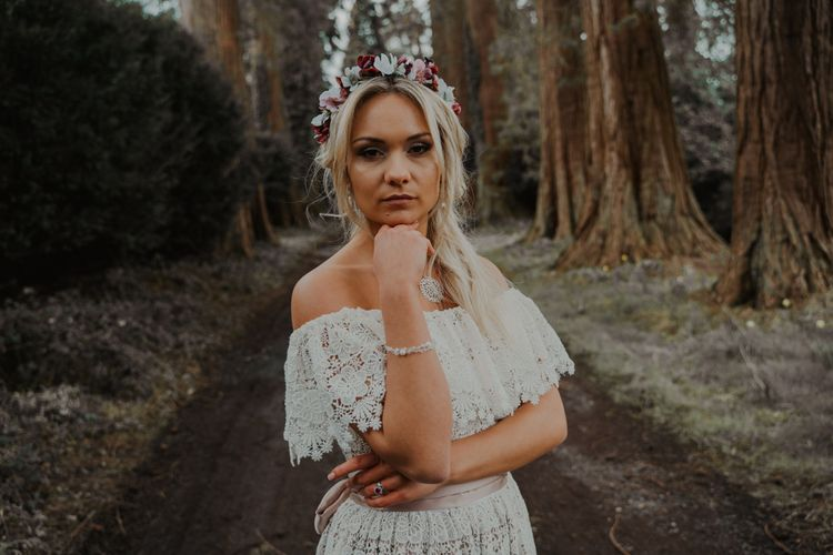Bohemian Bride in the Forest with Flower Crown