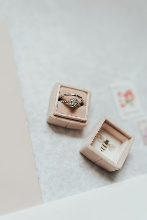 Wedding and engagement ring in pink velvet box
