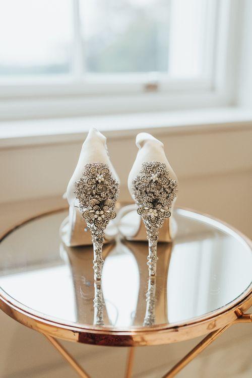 Jewel encrusted Dune wedding shoes