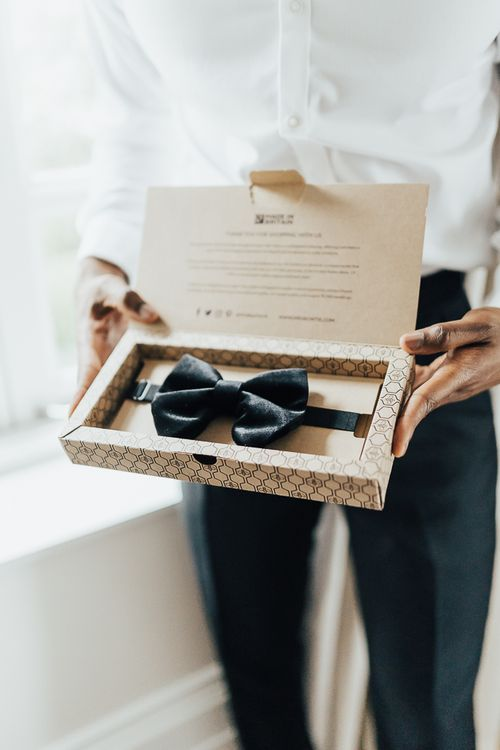 Black velvet bow tie for groom