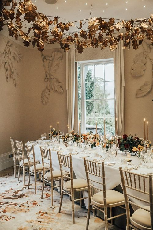 Intimate wedding reception table with 18 guests