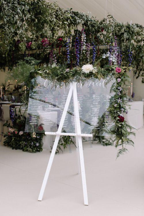 Perspex Table Plan For Wedding // Katrina Otter Weddings // Rebecca Goddard Photography