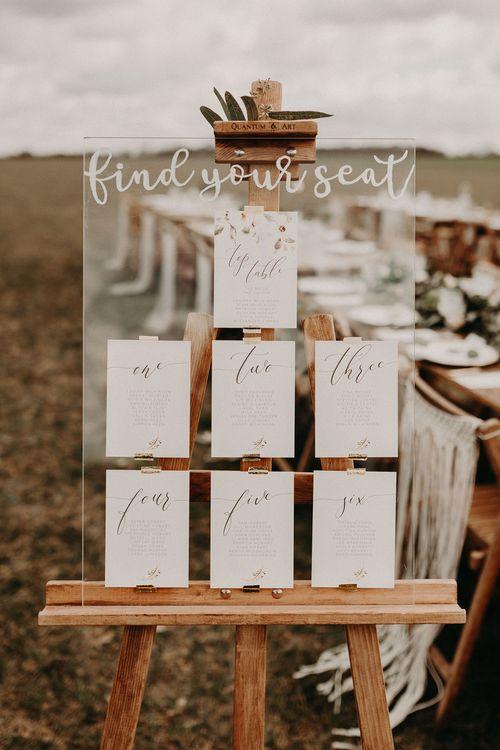 Perspex Table Plan By Wonderland Invites