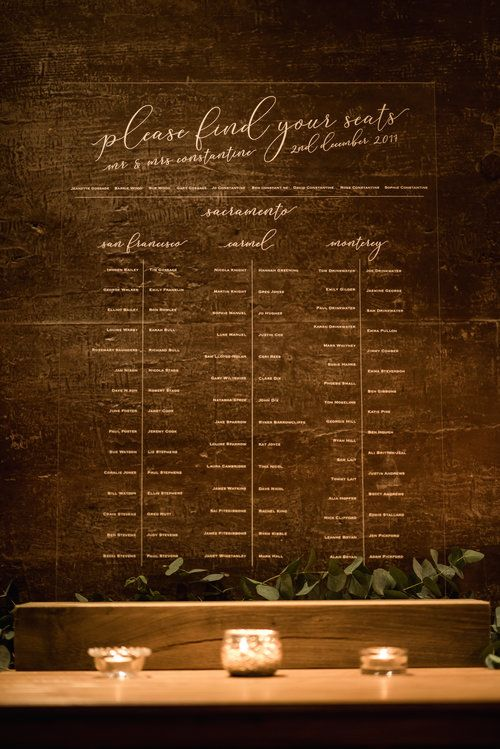 Perspex Table Plan For Wedding From Retro Press