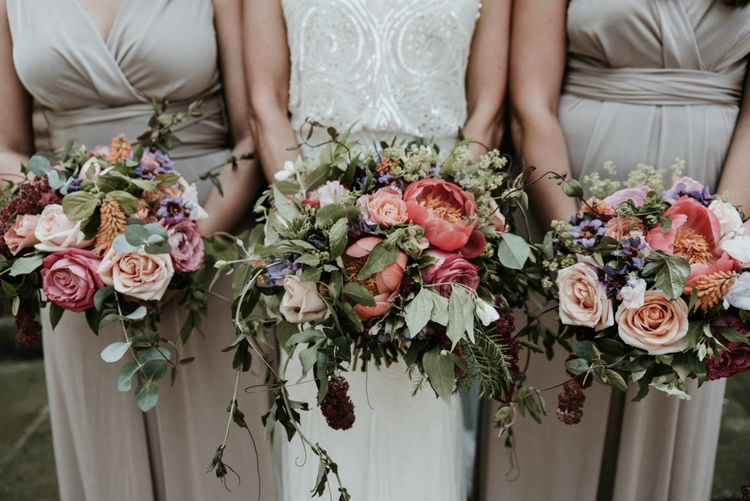Protea & Rose Wedding Bouquets // Image By Jamie Mac Photography