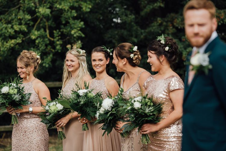 Blush Sequin Bridesmaid Dresses | Outdoor Wedding Ceremony & Tipi Reception Planned by Benessamy Events | Red on Blonde Photography